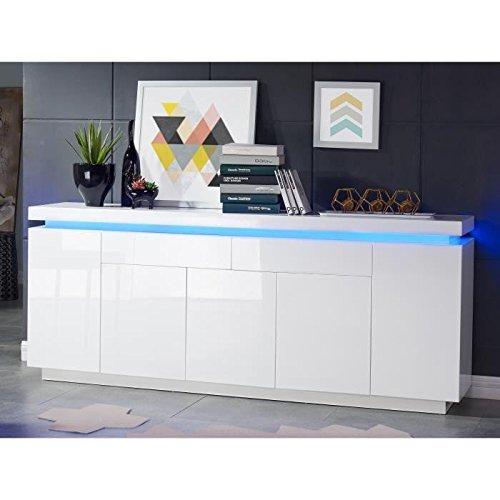 Générique Flash Buffet avec LED Bleu 206 cm - laqué Blanc Brillant