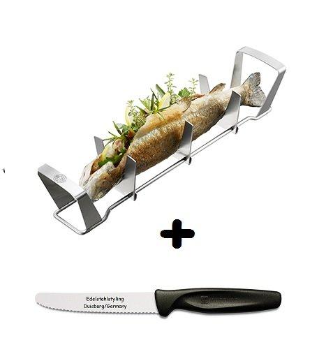 Gefu Fischhalter BBQ + Edelstahlstyling Universalmesser im Set