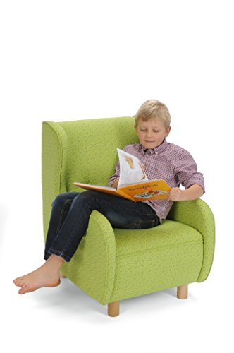 Preisvergleich Produktbild Kinder-Ohrensessel / Kinderstuhl mit grün geblümtem Stoffbezug / Maße: 56 x 67 x 78 cm / Sitzhöhe: 34 cm / Hergestellt in Deutschland