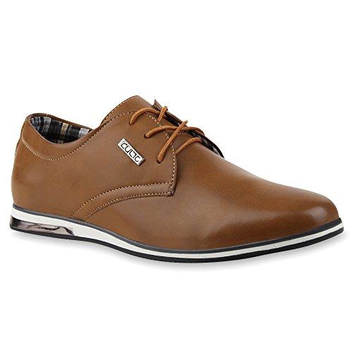 Herren Schuhe Halb Sportliche Leder-Optik Schnürer 100076 Braun Brown Cabanas 40 Flandell