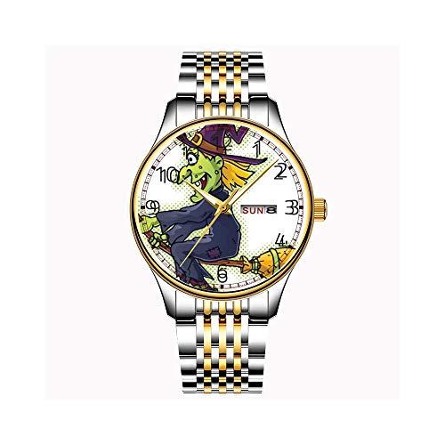 Uhren Herrenmode Japanische Quarz Datum Edelstahl Armband Gold Uhr Halloween Horse Colt Kitty Armbanduhr (Für Halloween Kitty)