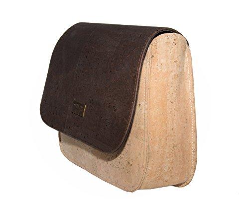 CorkLane Damen Handtasche Kork Umhängetasche Schultertasche Kurier Korkleder vegan aus Portugal Natur Beige - Braun - 5