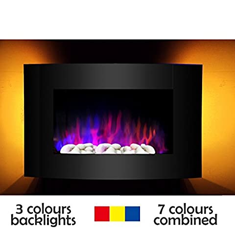 Wall Mounted 7colours LED Electric Fireplace 900/1800W with Pebble Flame & Heat 7 colours Black Curved Tempered Glass Screen Convector Heater