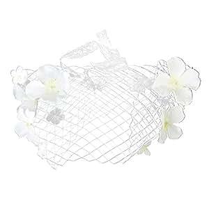 Voile de Visage Ornée de Fleurs Artificielles pour Mariée Mariage - Blanc