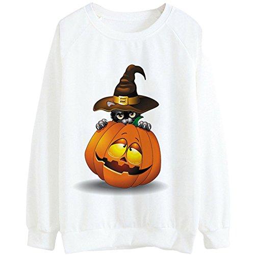 auen Niedliche Halloween Kürbis Langarm Bluse (Weiß, S) (Niedliche Halloween-cocktails)