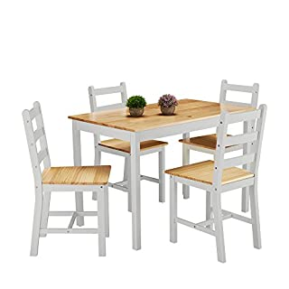 furniture-uk-shop Ensemble Table en Bois + 4 Chaises pour Salle à Manger, Cuisine, Séjour, Café, Poids: 27kg, Gris+Bois