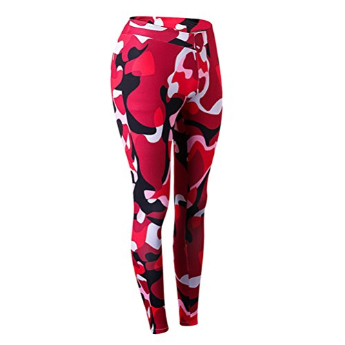 Zhhlaixing Womens Des sportss Workout Yoga Leggings Trousers Elasticity Compression Tight Séchage rapide camouflage Pants Red Camo