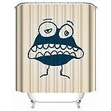 HUIYIYANG Duschvorhang, Abstrakter Entwurf nettes Monster und Weinlese Hintergrund wasserdichter Anti Mehltau Gewebe Polyester Badezimmer Duschvorhang 36