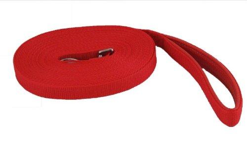 Othello Schleppleine, rot, Länge 15 m - Breite 20 mm, Gurtband mit gepolsterter Handschlaufe, hochwertiges Nylon, für besonders viel Bewegungsfreiheit - Schleppleine