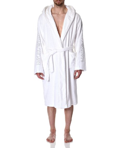 Emporio Armani-Accappatoio con cappuccio, colore: bianco Bianco