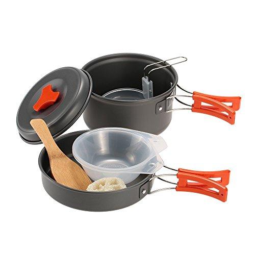 TOMSHOO Portable Camping Hiking Cookware Backpacking Cooking Bowls Pan Picnic Pot Set Cook Set Outdoor