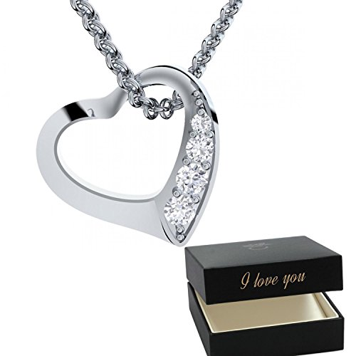 afc00f6a63e Amoonic Heart Necklace Sterlin Silver 925 by with - I Love You Gift Box -  Women