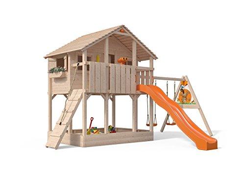 Isidor Atario Spielturm Kletterturm Baumhaus Rutsche Schaukeln Rampe (Einfacher Anbau, Orange)