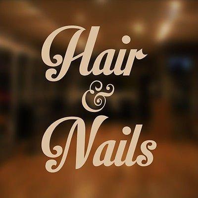 Haare und Nägel Beauty Salon Shop Vinyl Schild Frauen Friseur Haar Fenster Schriftzug Aufkleber (Fenster Frauen)