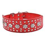 Hundehalsband Halsbänder Strasshalsband 5cm Breit 38-61cm Halsumfang für große Hunde Luxus mit Strass Blumen Nieten, Rot XXL