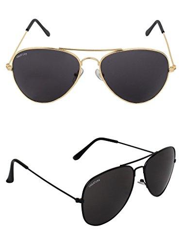 Creature Uv Protection Aviator Unisex Sunglasses Combo(Sun-004-005| 50| Black)
