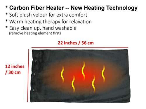 ObboMed MH-2000G Ferninfrarotkohlefaser-Heizkissen, 12V 20W, 2-Stufige Wärmeeinstellungen, Abnehmbarer und von Hand Waschbarer Veloursbezug, Wellenlänge 8-15 μm (Gesunder Bereich: 4-14 μm); Grau