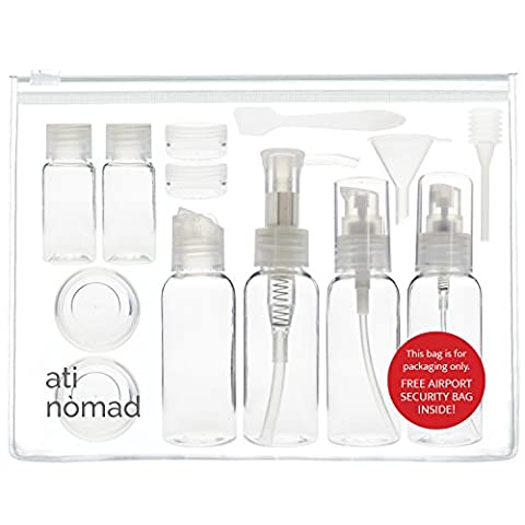 Ati Nomad 13 Pieces Air Travel Bottles Set - Empty 50ml Plastic Travel Bottles and Jars Toiletries Liquid Containers for Cosmetic Make-up (Clear) - Airport Liquids Bag