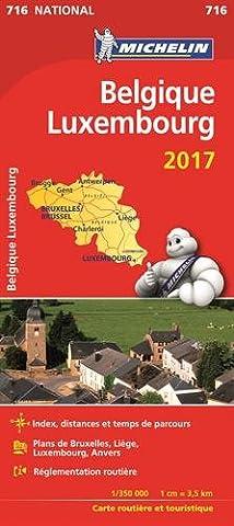 Carte Belgique, Luxembourg Michelin 2017