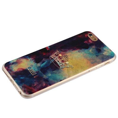 Etche iPhone 6 Plus/6S Plus TPU Schutzhülle, Laser Reflect Blue Light Case für iPhone 6 Plus/6S Plus, Transparent Frame Silikon Handyhülle für iPhone 6 Plus/6S Plus,Premium Slim TPU Gel Soft Back Cove Queen Krone