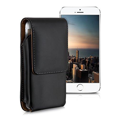 kwmobile Gürteltasche Hülle für Smartphones mit Gürtelclip - Kunstleder Gürtel Case mit Gürtelschlaufe in Schwarz Innenmaße: ca. 13,5 x 6,9 cm