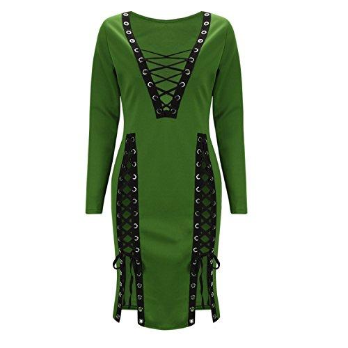 LAEMILIA Femme Robe Mini Crayon Manche Longue Col-V Slim Bandage Clubwear Sexy Robe de Cocktail Party Vert