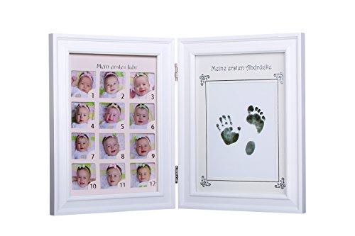 Collage Bilderrahmen Jahr Ersten (Ambrosya® | Baby Bilderrahmen für Fotos + Handabdruck / Fußabdruck | Mein erstes Jahr | Abdruck Erinnerung Foto Fotorahmen Rahmen Geschenk Geschenkidee Mädchen Junge Geburt Taufe (Zweiteilig, Weiß))