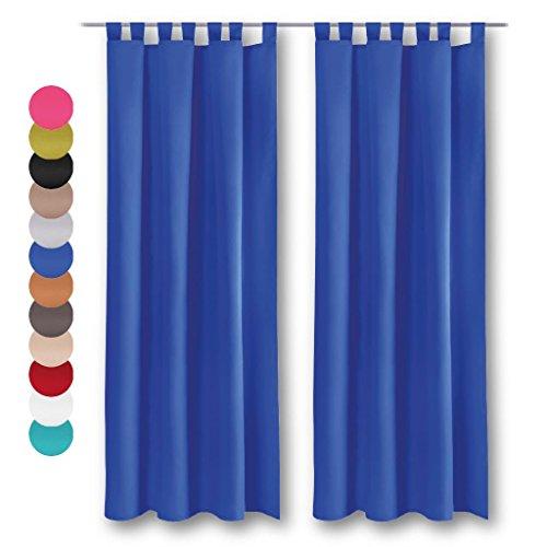 Dekoschal 2er Pack mit Schlaufen, Vorhang Gardine, Auswahl: 140 x 145 cm blau - mittelblau