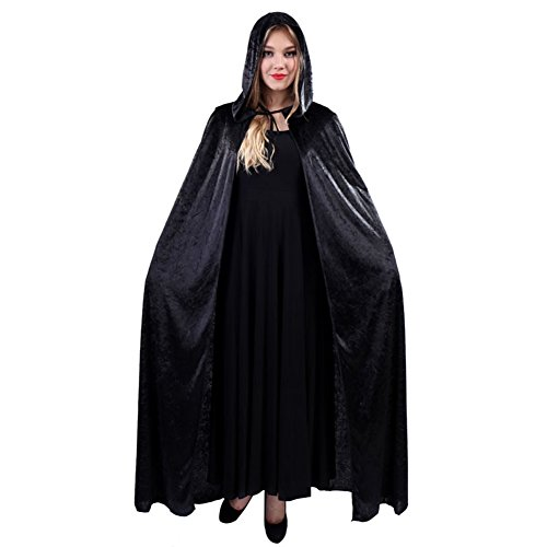 Bello Luna Witch Wizard Cloak Cape Death Cape Halloween Cosplay Make-up Kleid-Samt (Zählen Make-up)
