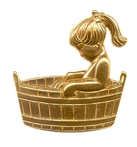 Mädchen in der Wanne-Messing pol. Toilettenschild-Toilette-Bad-WC-Klo-Symbol-Schild-Hinweisschild-selbstklebend (Nr. 110-80 x 80 mm)