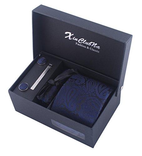 Uomo Paisley cravatta, fazzoletto, stickpins e gemelli pacco regalo (blu scuro)