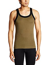 Tuna London Mens Cotton Vest (8907158017848_Miami_L_Black / Green)