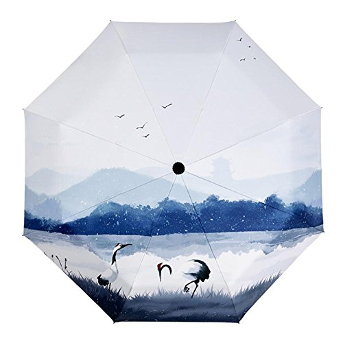 JAYLONG Travel Umbrella 8 Ribs Crane Sturdy Portable Stainless Steel Construction Secado rápido paraguas plegable impermeable para mujeres, hombres, niños y niños