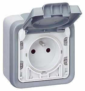 Legrand LEG69911 Prise de courant avec terre avec volet de protection à ouverture automatique apparent complet Gris Plexo
