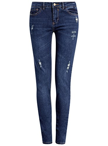 oodji Ultra Femme Jean Skinny avec Détails d'Usure à la Mode Bleu (7900W)