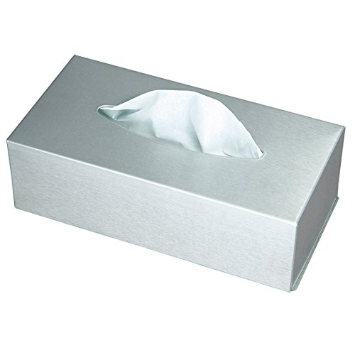 axentia Kosmetiktücherbox - Box für Kosmetiktücher - Taschentuchbox - Kosmetikbox als Spender oder Halter - Taschentuchspender mit Wandmontage - Tücherbox Edelstahl Silber 24.5 x 13 x 7 cm