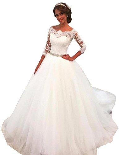 NUOJIA Hochzeitskleider Prinzessin Spitze Brautkleider A Linie Lange ärme Weiß 44 (Günstige Cinderella Brautkleider)
