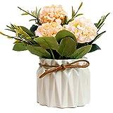 RENNICOCO Kunstseide-Blumen-Blumensträuße Rose Flowers Decoration mit Keramik-Vase