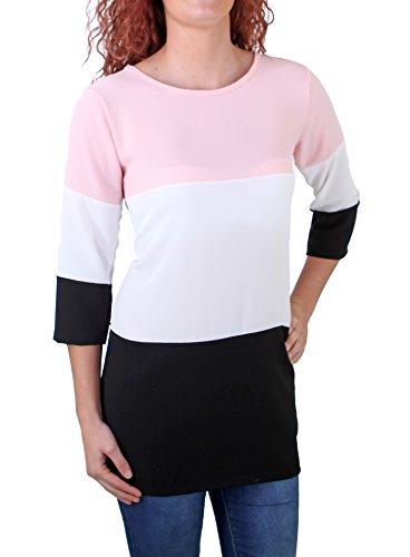 Madonna T-Shirt Damen QUEENDRESSA Colorblock Shirt 7-8 Ärmel MF-741145 Rosa M -