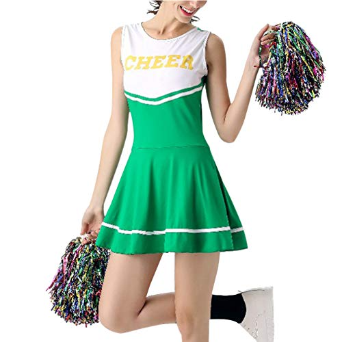 Kostüm Tanzen Fancy - Gtagain Cheerleader Uniform Damen - Mädchen High School Musical Sport Fancy Dress Tanzkleidung Tanzen Kostüm Performance Party Halloween Bühne mit Pom Poms