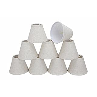 Aspen Creative 32106-9 Small Hardback Empire Shape Chandelier Clip-On Lamp Shade Set (9 Pack), Transitional Design in Flaxen, 6