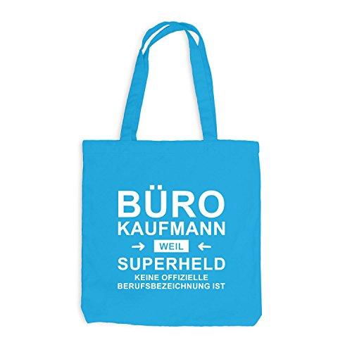 Jutebeutel - Bürokaufmann Superheld - Hero Beruf Surfblau