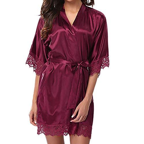 Lenfesh Batas Largas Kimono para Mujer Lenceria Ropa de Dormir Camisón de Encaje M, A #Blanco Vino-x...