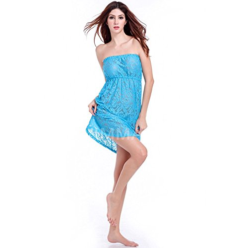 andyshi Frauen Sexy Lace Cover-up Transparent Trägerlos Beachwear Kleid Blau
