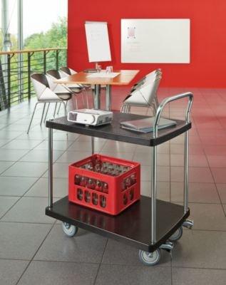 Servier-Tischwagen – 2 Etagen, 1 Schiebebügel Tragfähigkeit 150 kg – Beistellwagen Tischwagen Wagen Werkstattwagen Etagenwagen Kunststoff-Wagen Plattformwagen - 4