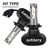 Infitary-Lampadine per Esterno CSP LED H7 Doppia raggio 1 Paio, Nero