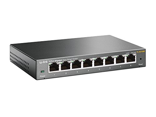 TP-Link TL-SG108E 8-Port Gigabit Easy Smart / Unmanaged PRO Switch (Plug & Play, Gigabit Ports, Metallgehäuse, VLAN, QoS, Easy Smart Management Software)