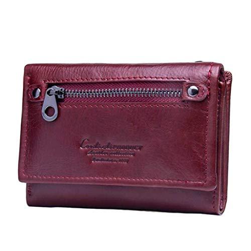 Damen Short Section Wallet Kartenpaket Coin Purse Leather Clutch (Color : Red, Size : 12 * 3 * 8.5)