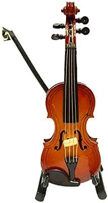 1/12 Juguetes Casa de Muñecas Instrumentos Musicales Violín Miniatura Madera con Soporte del Caso