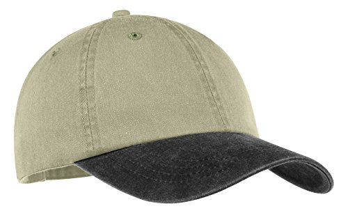 Port & Company® -Two-Tone Pigment-Dyed Cap. CP83 Khaki/Black OSFA (Cp83-port)
